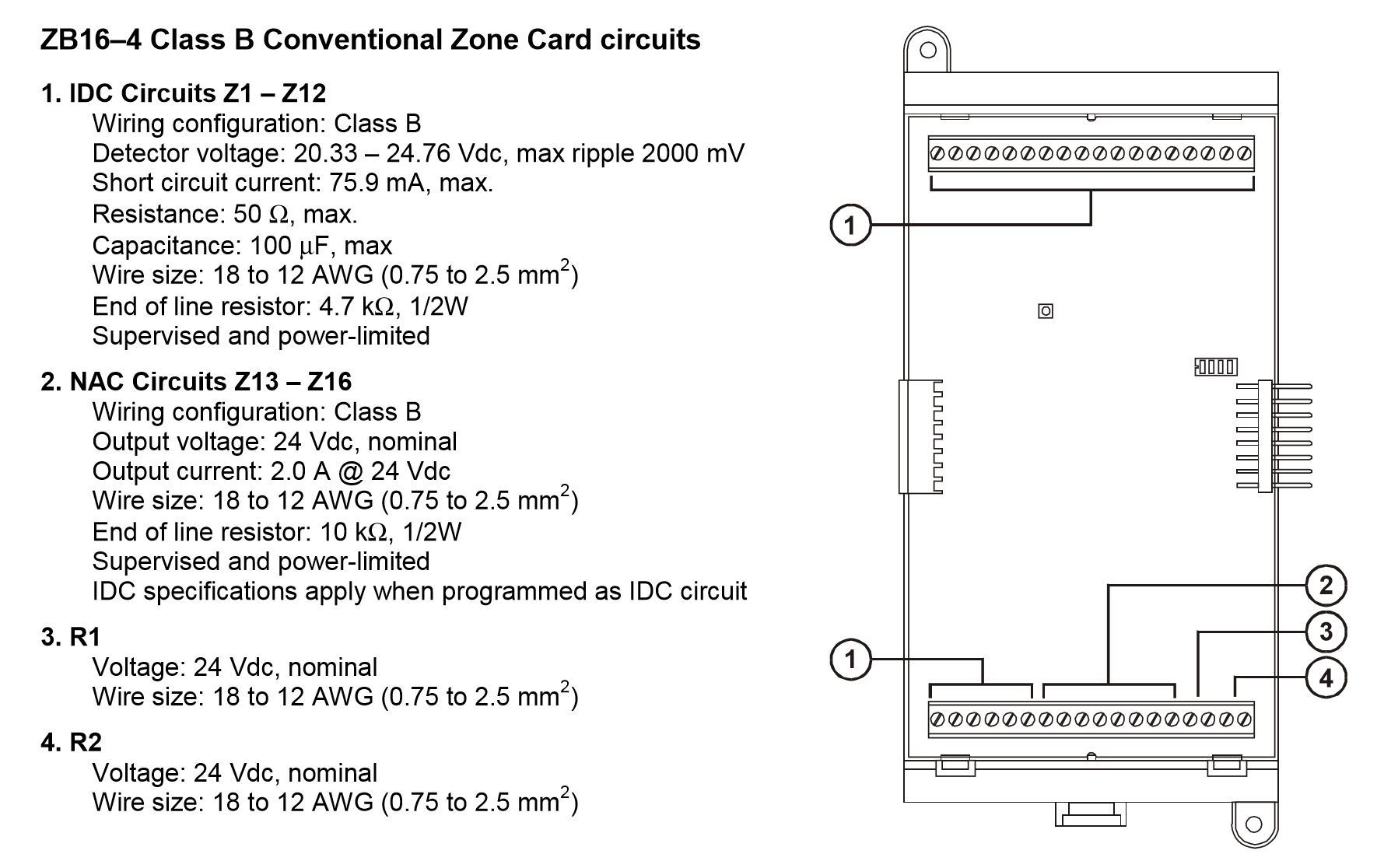 Edwards Signaling ZB16-4 | QUICKSTART CONV. ZONE CARD